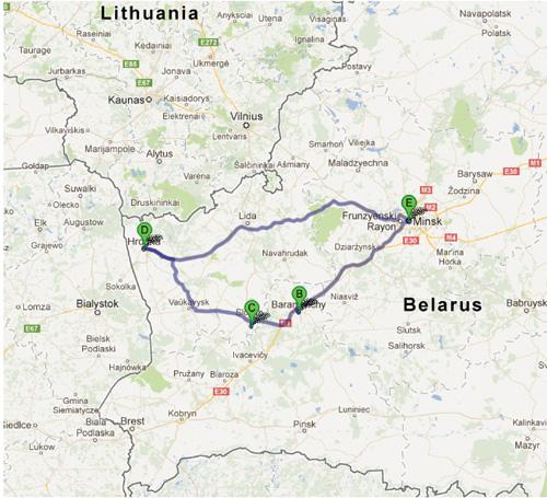 Minsk-Baranovichi-Grodno-Minsk